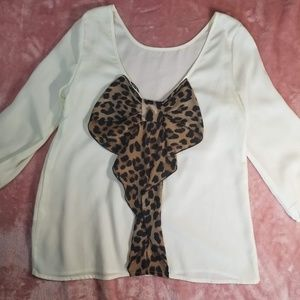 Tops - Cream Blouse with Leopard Print Bow on the Back